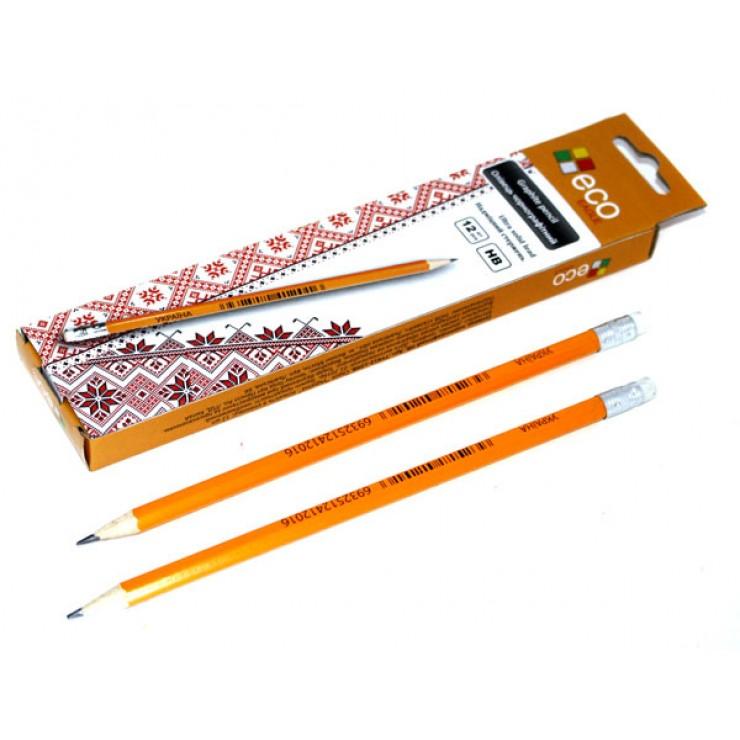 Олівець чорнографітний з гумкою